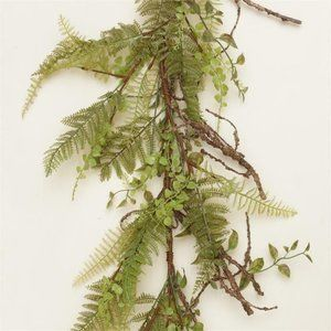 Ferns and Foliage with Twigs Faux 5 ft Garland